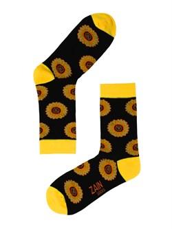 Носки Подсолнухи ZAIN 062 чёрные - фото 5409